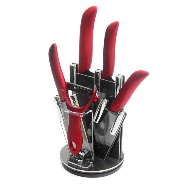 Red Kitchen Knife Set Home Depot Remodel Xyj Brand New Style Ceramic Knives 3 4 5 6 Black Blade Handle Peeler Stand Best Tool Holder