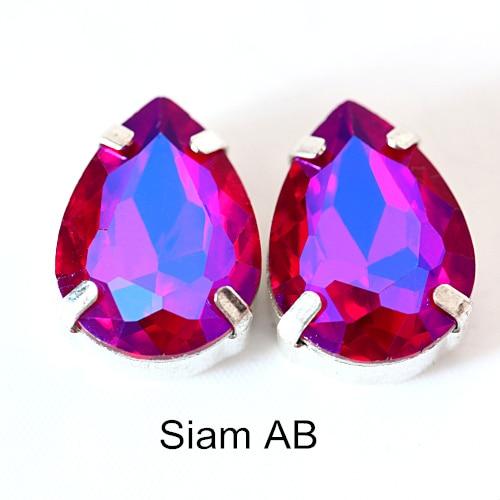 5 размеров красочные стеклянные хрустальные серебряные коготь пришивные стразы с коготь капли воды красные Пришивные коготь стразы для одежды B0403 - Цвет: Siam AB