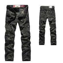 Męskie spodnie jesień Cargo męskie spodnie wojskowe moro dorywczo luźne wygodne spodnie MultiPocket spodnie Camo bawełniane elastyczne