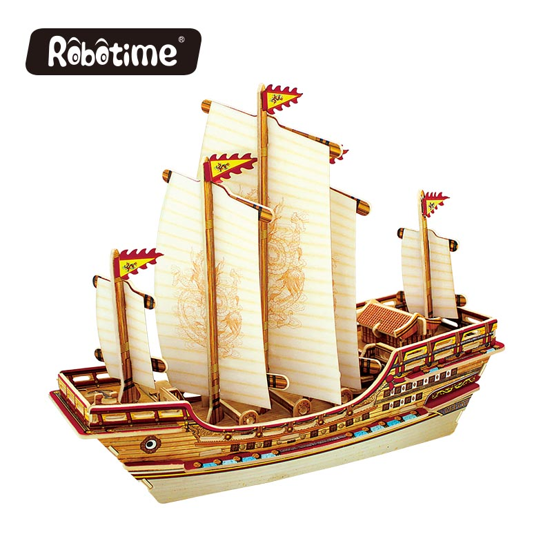Robotime 3D wooden Puzzle DIY model Building kits Educational diecasts & toy vehicles for Chidren boat ship gifts BA401