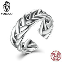 VOROCO 100 Genuine Sterling Silver 925 Adjustable Stackable Ring For Women Men Triple Twisting Braided Band