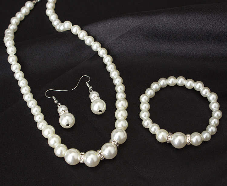 High quality European and American classic shambhala crystal pearl necklace earrings set