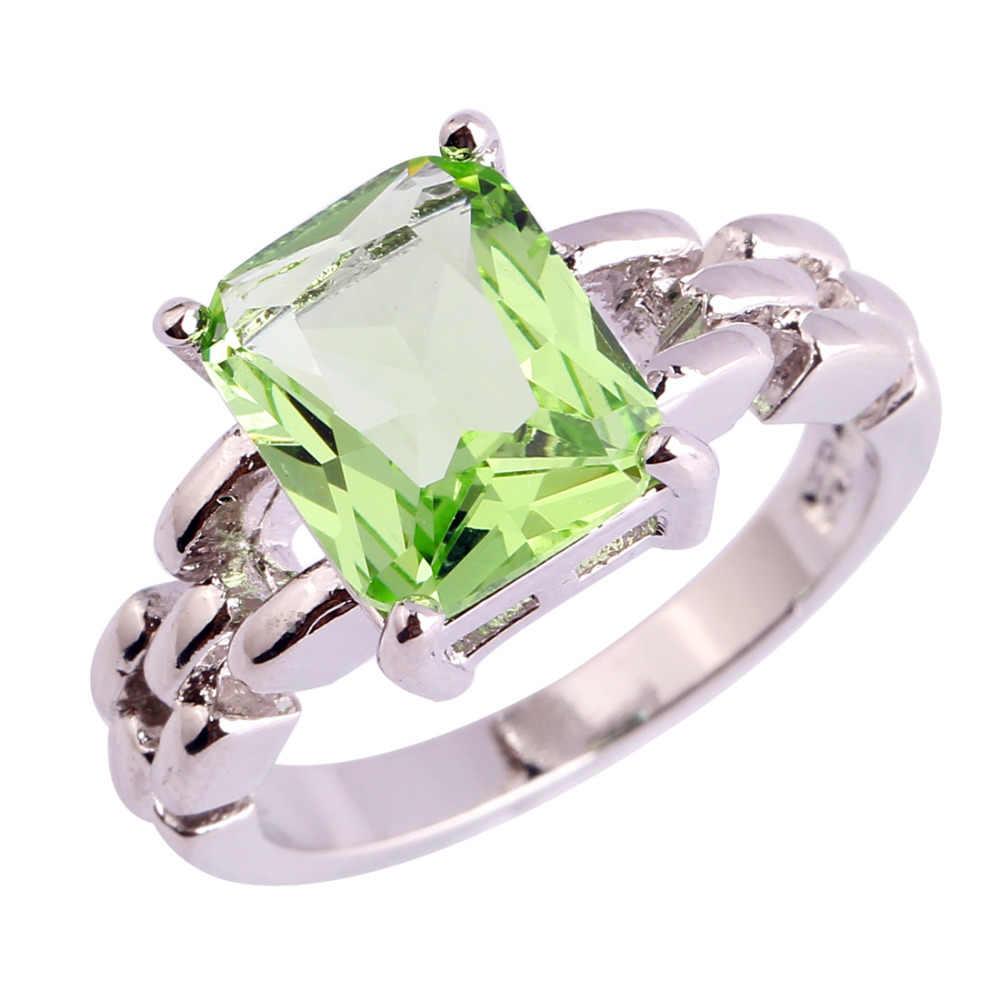 Lingmei $0.99 גדול קידום סיטונאי ירוק סגול AAA CZ כסף צבע טבעת גודל 6 7 8 9 10 11 נשים שיק פופולרי המפלגה תכשיטים