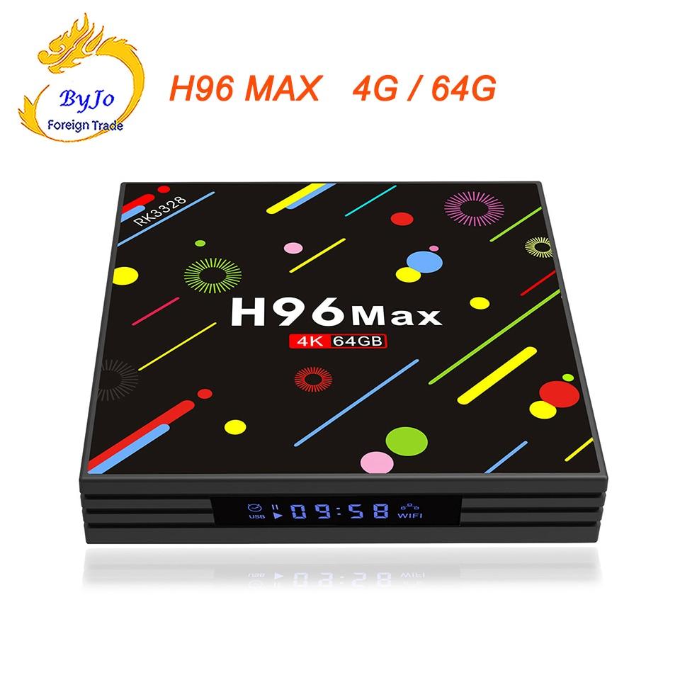 H96 MAX  4G RAM 64G ROM Android 7.1 smart TV box 2.4G and 5G WIFI Rockchip RK3328 Quad-core Support H.265 UHD BT 4K 5pcs android tv box tvip 410 412 box amlogic quad core 4gb android linux dual os smart tv box support h 265 airplay dlna 250 254