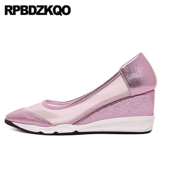 Golden Silver Fashion High Heels Cheap Pointed Toe Size 4 34 Footwear Pink Elegant 2018 Wedge Mesh Gold Casual Shoes Women Pumps
