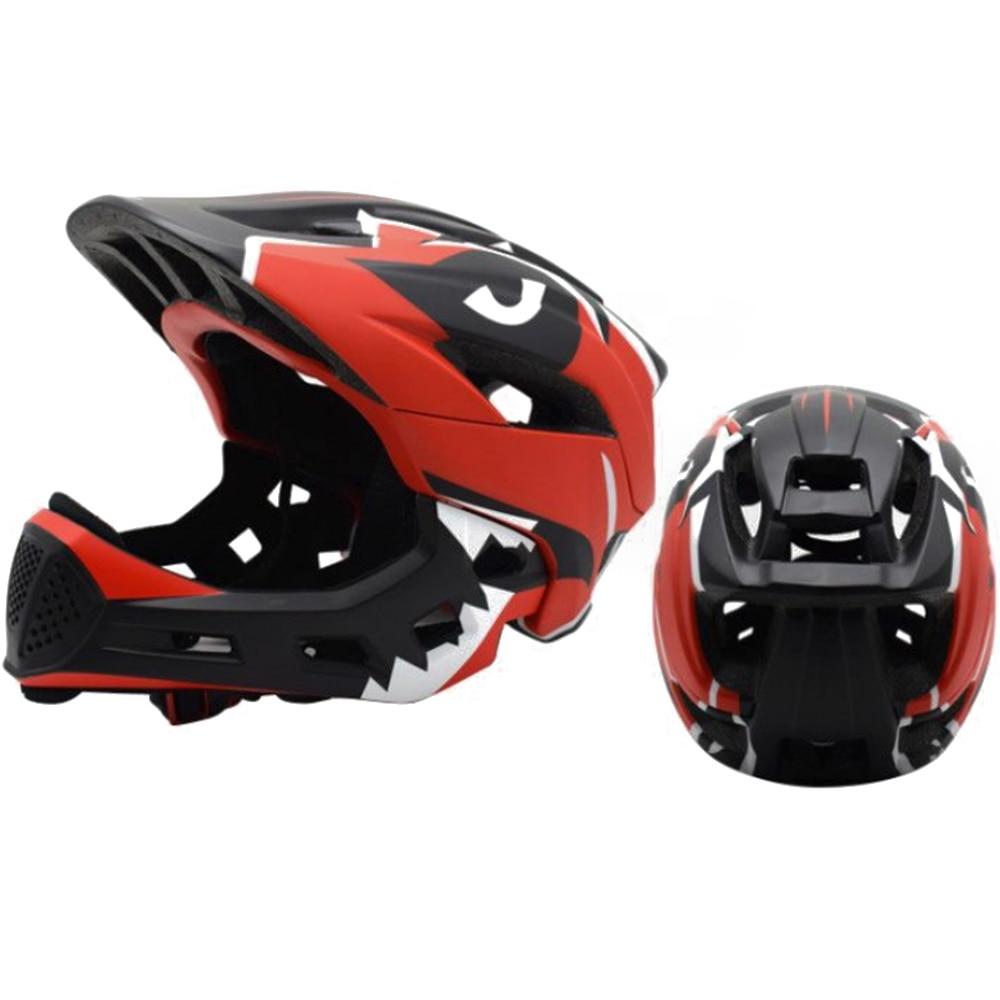 Дети полный уход за кожей лица Детские защитный шлем шапки съемный Crashworthy творчества Велоспорт Шлем модульный флип - Цвет: red black