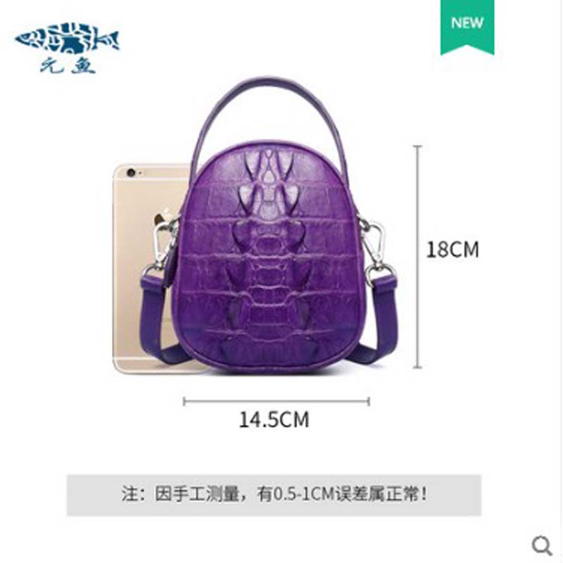 Bolso de mujer de cuero de cocodrilo yuanyu de cuero genuino importado de Tailandia bolso de cocodrilo solo bolso de hombro pequeño bolso redondo - 2