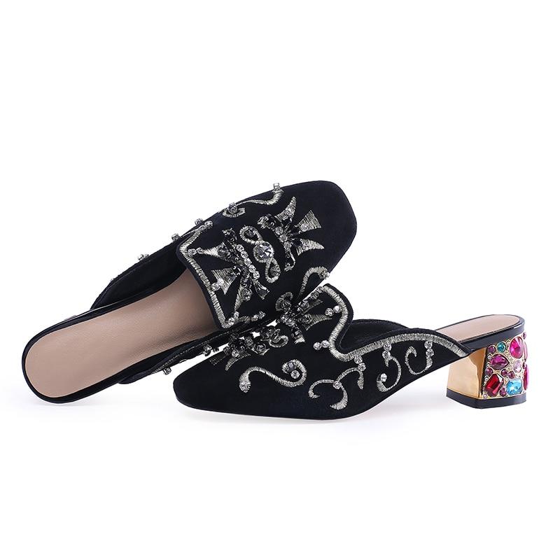 2019 Chico Alta Bordar Tacones Diapositivas Wetkiss Mulas Las Zapatos De Nuevas Retro Mujeres Étnicos Gamuza Zapatillas Cristal Exótico Negro Mujer 7C88dwTqx