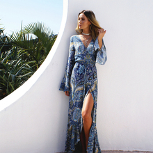 2019 Fashion Long Sleeve Dress Women Floral  Print Wild Chiffon Beach Dress Summer V-neck Sexy Dress Ruffle Bohemian Dress v neck ruffle trim floral dress