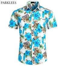 Azul floral impresso praia havaiano camisa dos homens 2019 verão manga curta tropical aloha camisas masculino festa de férias roupas 2xl