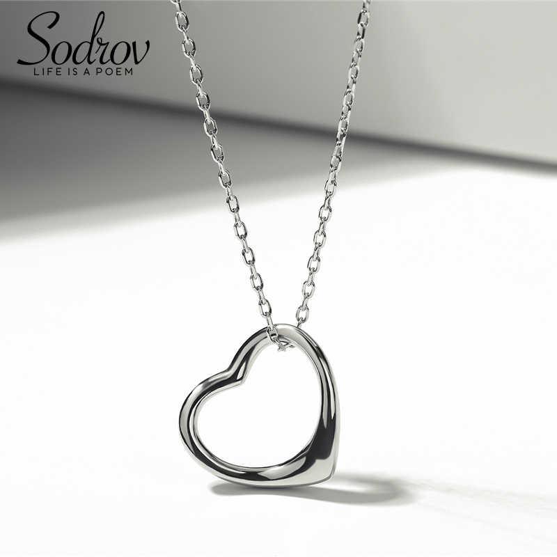 SODROV แท้ 100% 925 เงินสเตอร์ลิงคลาสสิกหัวใจใส CZ จี้สร้อยคอแฟชั่นผู้หญิงเครื่องประดับหมั้น HN009