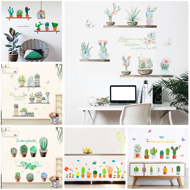 Plants and Cactus Wall Stickers for Home Decoration
