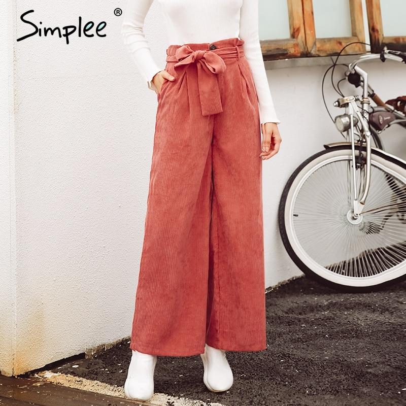 Simplee Corduroy Wide Leg Pants Women Casual High Waist Waistband Fashion Vintage Long Pants 2018 Autumn Winter Female Pants