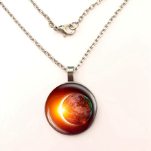 YSDLJG Solar Eclipse Cabochon Pendant Necklace Earth Space Astronomy  Jewelry Stainless Steel Charm Women Gifts