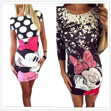 Women Cute Cartoon font b Dress b font Casual O Neck Short Sleeve Print font b