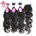 Queen Hair Unprocessed Brazilian Virgin Hair With Closure, 3 Bundles Brazilian Natural Wave Hair Bundles With 1pc Lace Closures