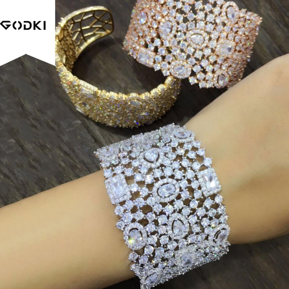 GODKI Personalize Luxury Simple Initial Knot Open Cuff Bangles Bracelets For Women Wedding Full Zircon Dubai