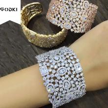Godki personalizar luxo simples inicial nó aberto manguito pulseiras/pulseiras para o casamento feminino completa zircon dubai nupcial jóias 2019