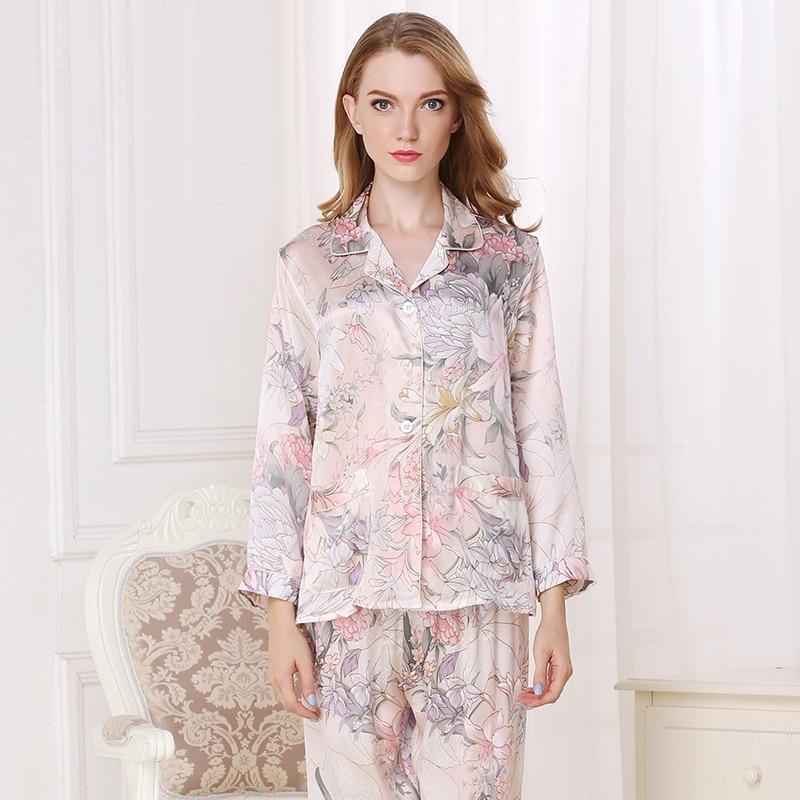 Silk Pajamas For Women  Elegant Luxury Floral Print Pyjamas Sets