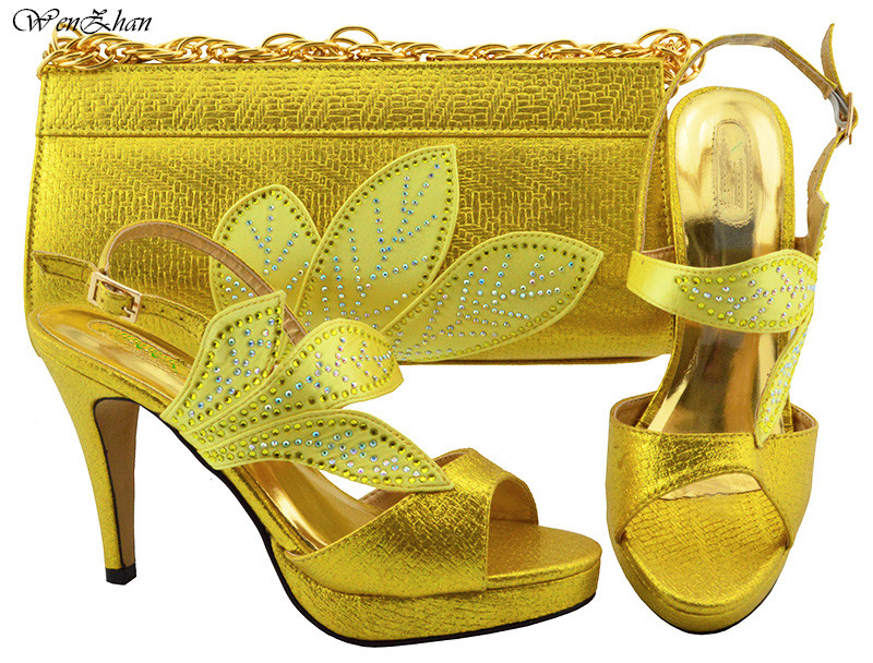 Yellow Open Toe Shoes and Bag To Match Newest Italian African Women Matching High Heel Shoe and Bag Set for party wedding B86-12