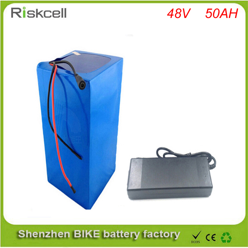 Free customs taxes  electric bike lithium ion battery 48v 50ah  battery pack for 2000w /1500w  motor/engine kits+charger+BMS free shipping 50a discharge rate lithium battery 48v 50ah 18650 rechargeable li ion battery pack with 2000w bms and charger