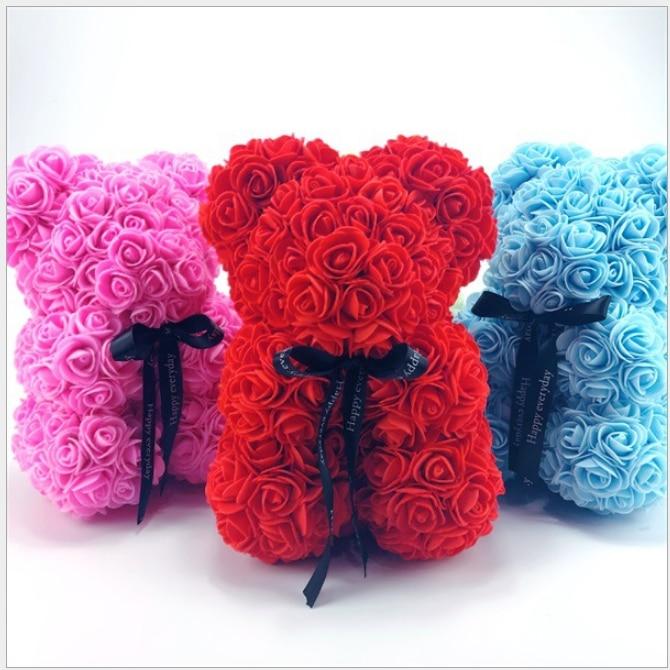 25 cm Roses ours en peluche fleurs fleurs artificielles pour décoration fausses fleurs fleurs séchées saint valentin cadeau livraison gratuite