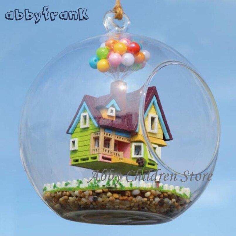 Abbyfrank DIY Стекло дом модель с лампой ручной миниатюрный Мебель Paradise Falls вверх Летающий дом кабины деревянные игрушки подарки
