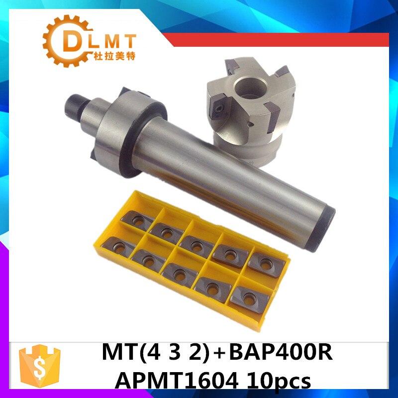 цена на MT2 FMB22 M10 MT3 FMB22 M12 MT4 FMB22 Shank BAP400R 50 22 Face Milling CNC Cutter + 10pcs APMT1604 Inserts For Power Tool