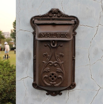 Antique Wall Mount Cast Iron Mailbox Embossed Trim Decor Metal Mail Letters Post Box Yard Patio