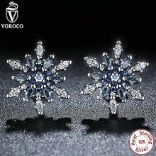 100% de Plata de ley 925 Cristalizada de Copo de nieve, Cristales de color azul y Claro CZ Stud Pendientes Para Las Mujeres Regalo Joyería S480