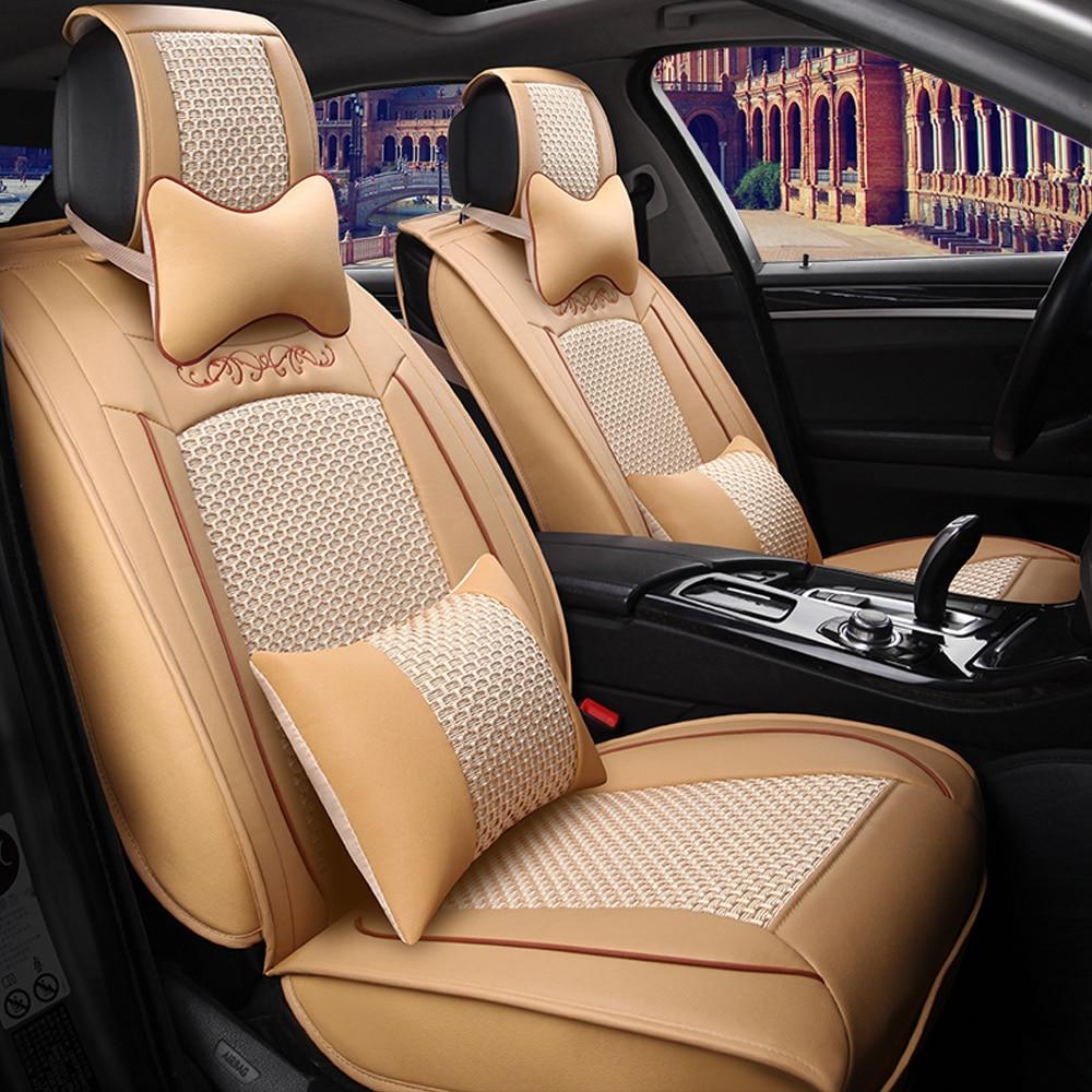 Ice Silk Fabric Car <font><b>Seat</b></font> <font><b>Cover</b></font> Universal Leather Stitching Automobiles <font><b>Seat</b></font> <font><b>Covers</b></font> Fits 5 <font><b>Seat</b></font> Car Interior Accessories