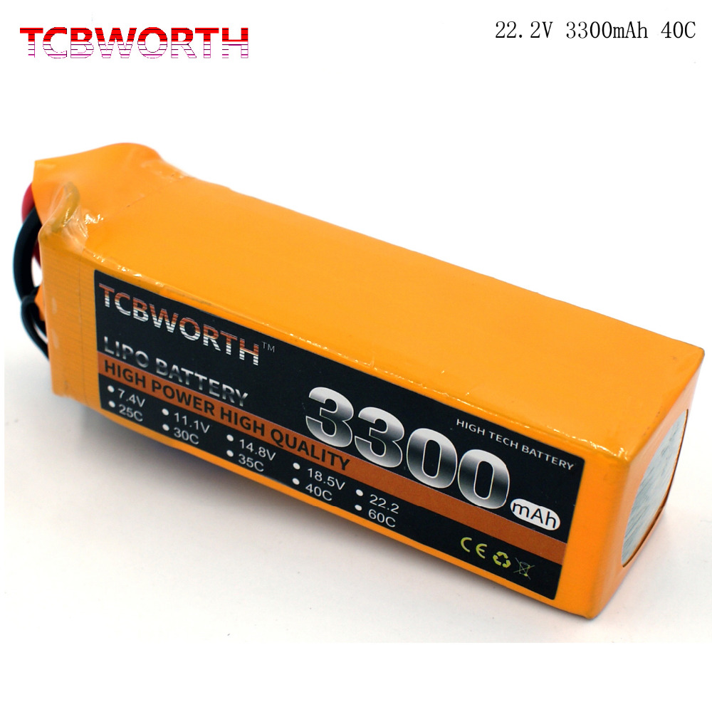 TCBWORTH 6S 22.2V 3300mAh 40C Max 80C RC Helicopter LiPo battery For RC Airplane Quadrotor Drone Car boat Truck Li-ion battery 2pcs tcbworth 3s rc lipo battery 11 1v 1500mah 40c for rc helicopter airplane quadrotor drone car li ion cell