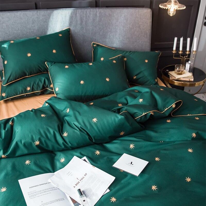 Sábana de algodón de cuatro piezas para el hogar, textil, juego de cama edredones y conjuntos de ropa de cama