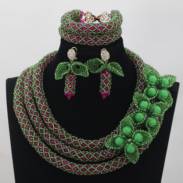 Green/Pink African Beads Wedding Crystal Necklace Set Luxury Chunky Nigerian Women Jewelry Sets Free ShippingABH011Green/Pink African Beads Wedding Crystal Necklace Set Luxury Chunky Nigerian Women Jewelry Sets Free ShippingABH011