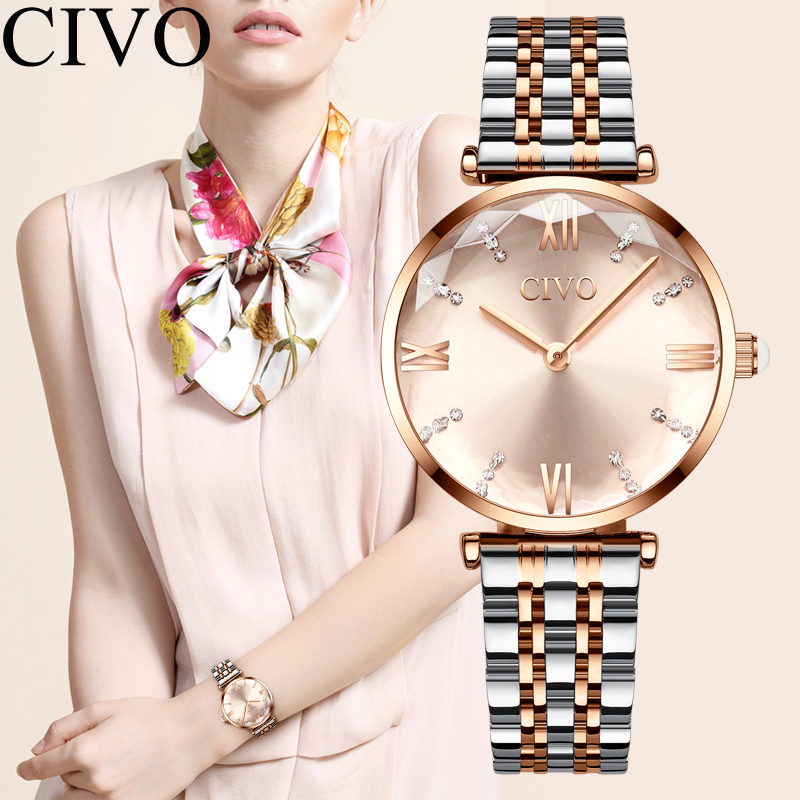 Luxury Crystal  Waterproof Rose Gold Steel Strap Ladies Wrist Watches  1