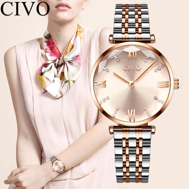 Luxury Crystal  Waterproof Rose Gold Steel Strap Ladies Wrist Watches  1