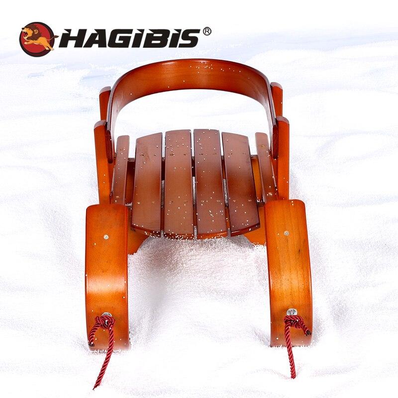 HAGIBIS Wood Child Sled, Kids beech Sledge Skating Board, Winter Outdoor Sport Sled, snow sledge, slittino neve