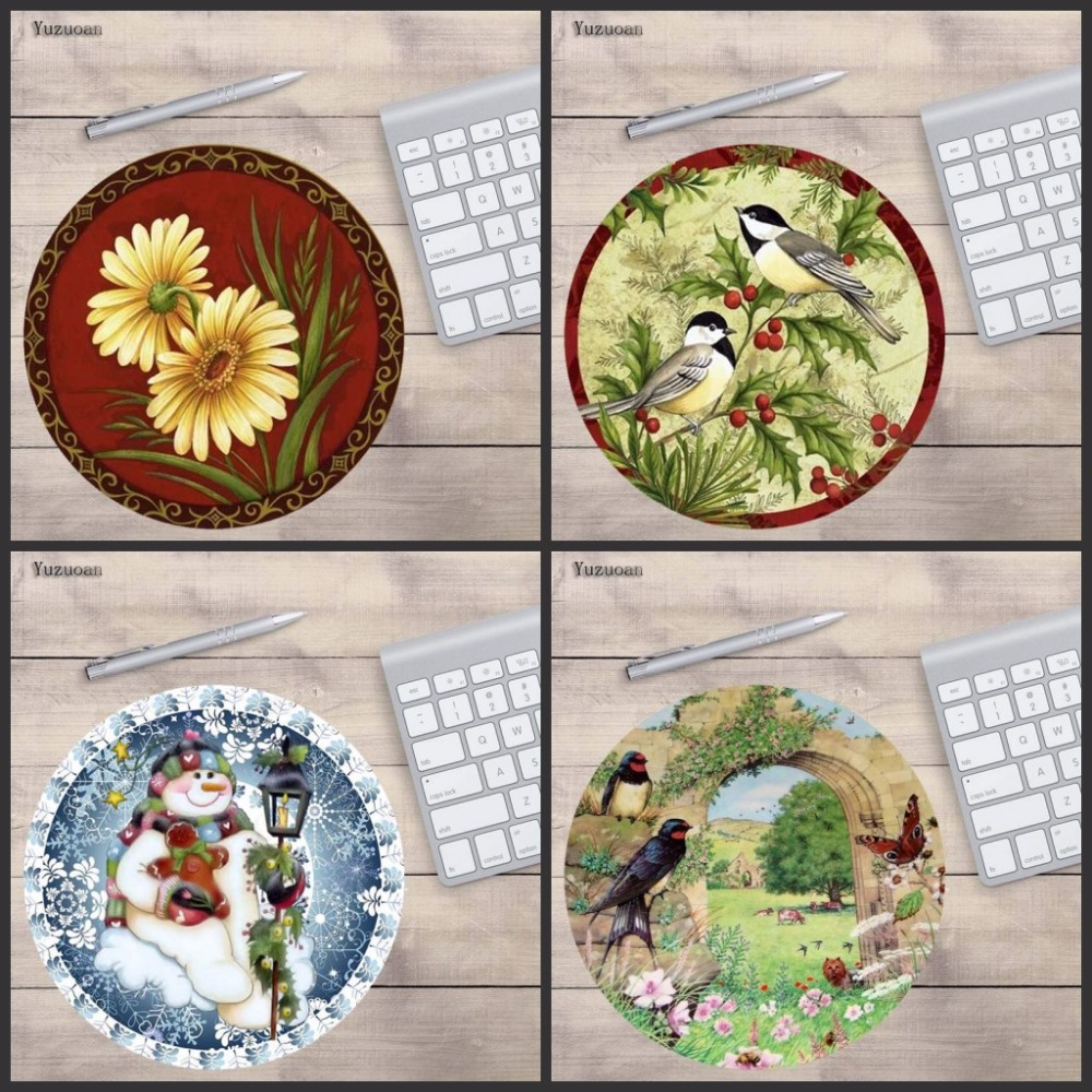 Yuzuoan Design Jolly Birds Unique Desktop Pad Mousepads Computer Animation Round Mouse M ...