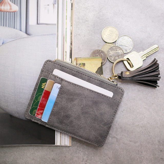 Fashion Slim Women Wallet and Purse Short Bag Small Leather Credit Card Holders Thin Tassel Zipper Wallets Coin Pocket Bags