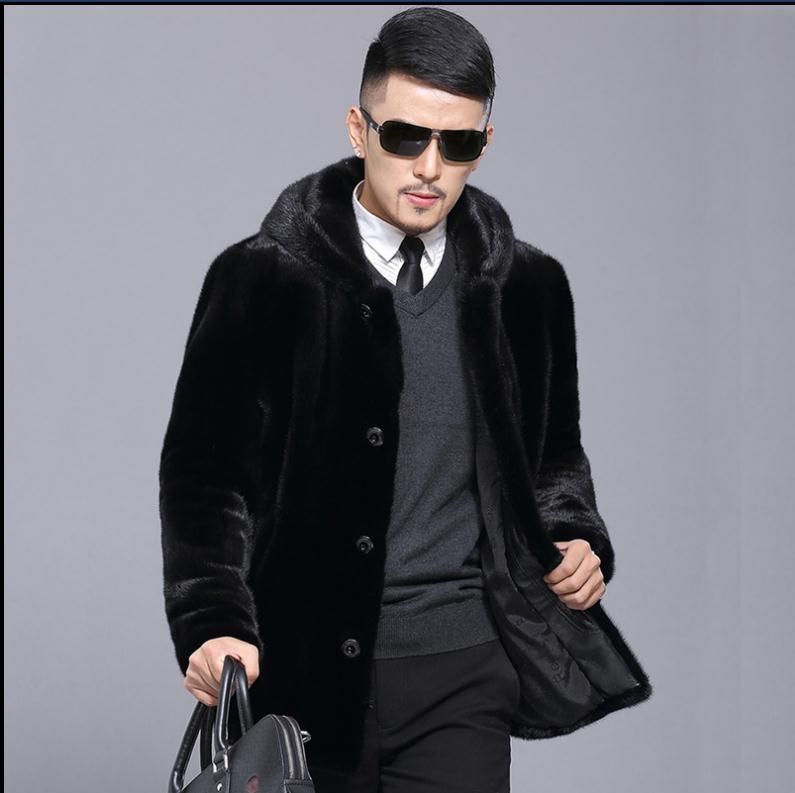 Black Mens Hooded Imitation Fur Jackets Long Section Large Size Casual Winter Fake Mink Fur Outwears Fur Overcoats S/5Xl K761