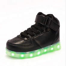2017 Spring Children High top Sneakers Fashion Sport Led Usb Luminous Lighted Shoes for Kids Running