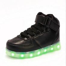 2017 Spring Children High top Sneakers Fashion Sport Led Usb font b Luminous b font font