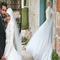 2018 Bacelackgirl Muslim High end Customized Muslim Long Sleeve Lace Wedding Dresses Hui Marry Full Dress Muslim Wedding Dresses
