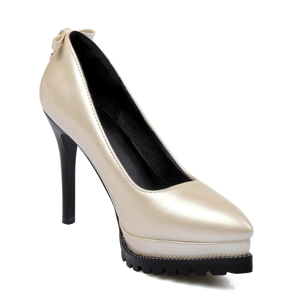 Big Small Size Sale 32-48 New Apricot Fashion Sexy Pointed Toe Women Pumps Platform High Heels Ladies Wedding Party Shoes 577-3 qplyxco 2017 new big size 34 47 ankle boot short autumn winter sexy women s pointed toe high heels wedding party shoes 584 2