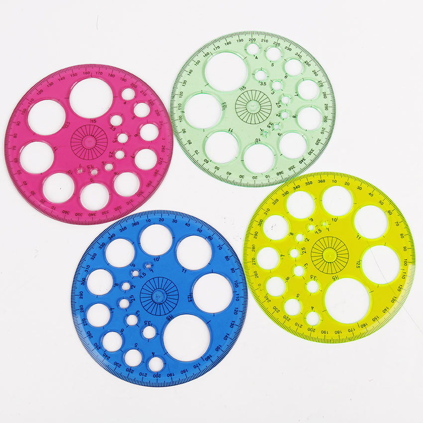 1PC Stationery 360 Degrees Round Ruler Transparent Template Circle Patchwork Foot Office And School Drafting Supplies Rulers