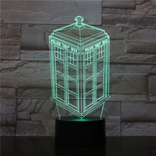 Led Night Light Call Box Nightlight Childrens Kids Baby Gift Telephone Booth Decorative Lamp Novelty Lighting Police 3d
