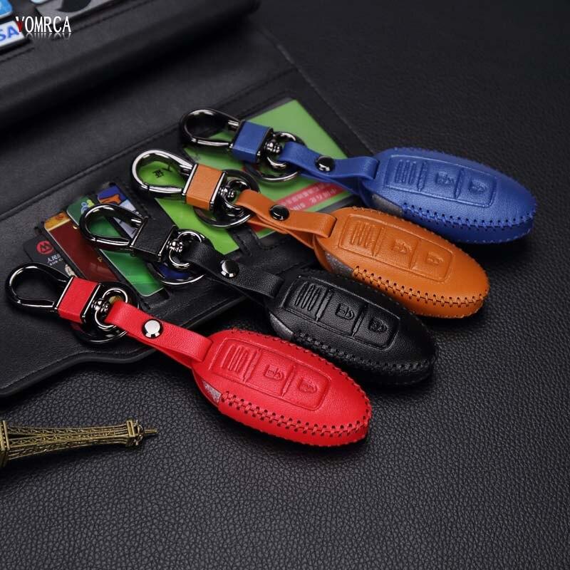 Leather Car Key Cover Keychain Smart 3 Button for Nissan Infiniti Almeria Juke Maxima Altima Murano Pathfinder Rogue Versa 3BTN