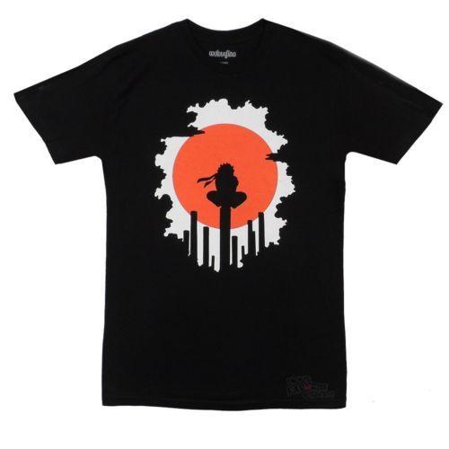 Male Fashion Anime Striped T shirt Naruto Shippuden Red Sun