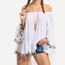 Women Casual Ladies Boat Slash Neck Strapless Loose Tassel Blouse Tops Shirt Ladies Blouses roupas feminina lace plus size women
