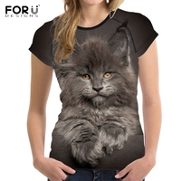 FORUDESIGNS Funny 3D Maine Coon Cat Pussy Print Women T Shirts Fashion Fitness Girl Short Sleeve